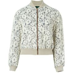 Jean Paul Gaultier Vintage Floral Lace Bomber Jacket ($374) ❤ liked on Polyvore featuring outerwear, jackets, floral bomber jacket, vintage jackets, white bomber jacket, shawl collar jacket and cream jacket