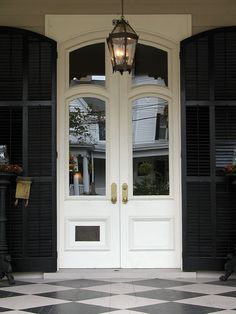 Home Exterior ~ Lantern ~ Black Shutters ~ Brass Door Knob