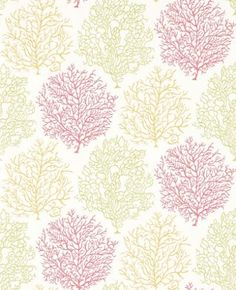 Coral Reef (213391) - Sanderson Wallpapers - A beautiful wallpaper featuring the motif of coral. Shown here in shades of yellow, red and green on a white background. Other colourways are available. Please request a sample for a true colour match. Paste the wall.