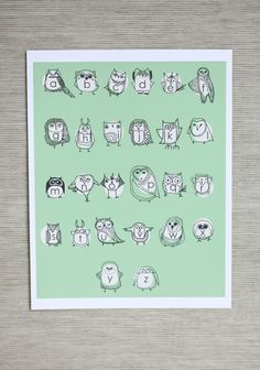 """Owlphabet Indie Print 19.99 at shopruche.com. This charming green """"owlphabet"""" print by artist Stacie Bloomfield features a different owl for each of the twenty-six letters."""