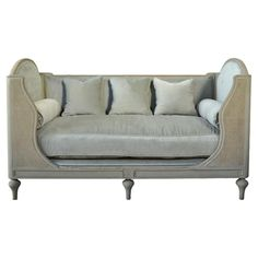 With its squared-off sides, delicate carved feet and pale storm grey upholstery, this bench makes a standout addition to a stylish sitting area. French Country Furniture, Farmhouse Living Room Furniture, Home Furniture Online, Home Decor Furniture, Furniture Websites, Furniture Stores, Furniture Ideas, Living Room Decor Traditional, Traditional Decor