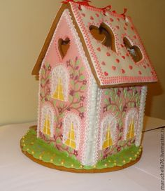 GINGERBREAD HOUSE~ Pink gingerbread house with heart windows