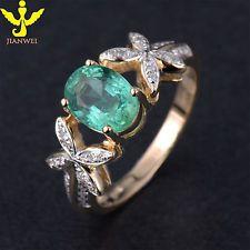 красивые украшения! 14K желтое золото твердого природный Колумбия изумруд бриллиант кольцо