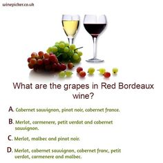 It's time for a Tuesday quiz! What are the grapes in Red Bordeaux wine? Wine Facts, Bordeaux Wine, Wine O Clock, Wine Time, Cabernet Sauvignon, Pinot Noir, Wine Recipes, Wines, Tuesday