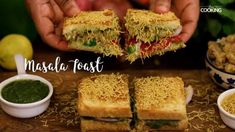 Home Cooking Masala Toast Vegetarian Sandwich Recipes, Best Sandwich Recipes, Vegetarian Snacks, Bread Sandwich Recipe Indian, Sandwich Chutney Recipe, Green Chutney Recipe, Veg Sandwich, Chaat Recipe, Paratha Recipes