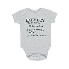George Definition Baby Boy Bodysuit (7,84 BRL) ❤ liked on Polyvore featuring baby boy and light grey