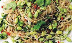 Pareve Yotam Ottolenghi Warm Glass Noodles and Edamame Beans Yotam Ottolenghi, Ottolenghi Recipes, Ottolenghi Plenty, Japanese Vegetarian Recipes, Vegetarian Kids, Glass Noodle Salad, Cellophane Noodles, Cooking Recipes, Healthy Recipes