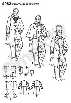 Simplicity pattern 4083 pattern for men's vest, jacket, and capelet