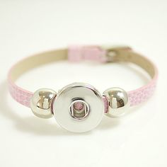 "1 PC Fits 18MM 5-7"" Pink Faux Leather Buckle Charm Chunk Pop Zinc Alloy Silver Snap Popper Interchangeable kb0993 CJ0266 Size: 5-7"" Clasp type: Buckle Clasp Material: Alloy and faux leather"