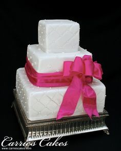Image result for white bow square cake
