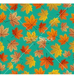 Vintage autumn leaves seamless pattern background vector - by cienpies on VectorStock®
