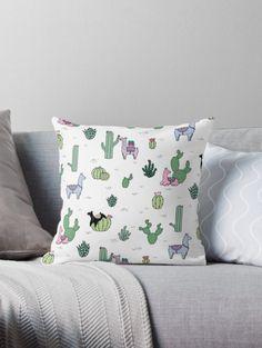 Red Bubble | Cacti Llamas Throw Pillow