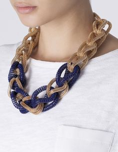 Collar eslabones bicolor | SHOP ONLINE SUITEBLANCO.COM