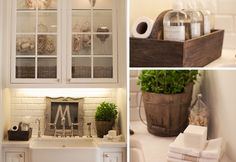 Farmhouse style decor in the laundry room. Love fresh feel, whites, plants. Clean!!