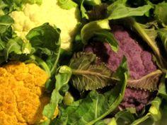 three colors of cauliflower: purple, orange, and white ~ #food #nutrition #healthyeating #vegetables #farmersmarkets