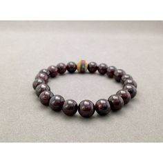 Red Garnet and Inlaid Wooden Bead Stretch Bead Bracelet for... ($37) ❤ liked on Polyvore featuring jewelry, bracelets, red bead jewelry, wooden beads jewellery, beading jewelry, wood bead jewelry and stretch jewelry