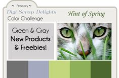 Green & Gray Color Challenge and FREEBIES!  Several FREEBIES, digital scrapbook kits, digital papers, clip art items, prints and more.