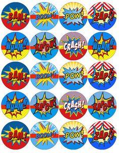 Pow,Zap, spiderman, batman, wonder woman Cupcake Toppers X 20 Superman Birthday Party, Girl Superhero Party, Superhero Cake, Happy Birthday, Birthday Cake, Wonder Woman Birthday, Wonder Woman Party, Wonder Woman Logo, Spiderman Cupcake Toppers