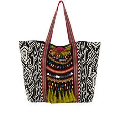 Black Tribal Print Embellished Tote Per Purse Handbags Bags