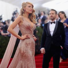 """Blake Lively Photos - Blake Lively and Ryan Reynolds attend the """"Charles James: Beyond Fashion"""" Costume Institute Gala at the Metropolitan Museum of Art on May 2014 in New York City. - Red Carpet Arrivals at the Met Gala — Part 3 Blake Lively Dress, Blake Lively Style, Blake Lively Wedding, Gossip Girls, Beautiful Dresses, Nice Dresses, Formal Dresses, Elegant Dresses, Blake Lively Ryan Reynolds"""