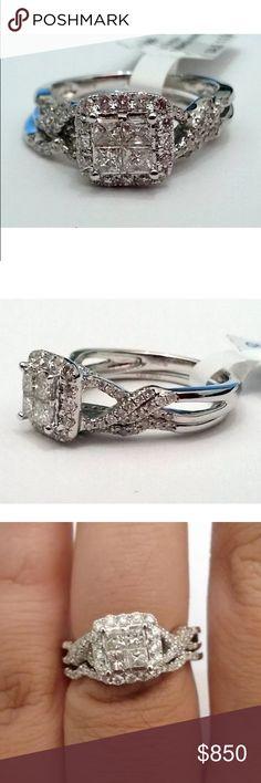 Stunning 1 carat 14k white gold diamond ring set Stunning 1 carat 14k white gold diamond ring set Jewelry Rings