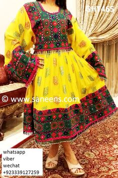 Islamic Dress For Nikah Event Afghan Clothing Yellow Color Pashtun Robe Modest Dresses, Modest Outfits, Girls Dresses, Modest Clothing, Clothing Stores, Kids Clothing, Muslim Fashion, Modest Fashion, Frock Fashion