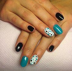 Blue and Black nails design