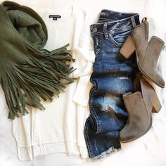 White sweater, dark jeans, olive green scarf, with booties