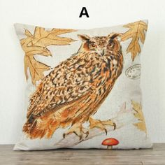 Bird owl pillow Vintage leaf design linen couch cushions 18 inch
