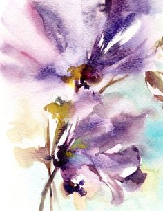 Abstract Watercolor Print Purple Florals by CanotStopPrints
