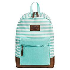 Dickies Women's Canvas Backpack Handbag with Stripes and Zip Closure - Mint