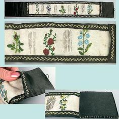 Antique Embroidered Silk Sewing Needle Roll Circa 1870 | eBay