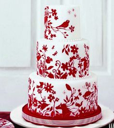 Red Wedding Theme | Wedding cake. http://simpleweddingstuff.blogspot.com/2014/02/red-weding-theme.html