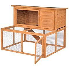 "Tangkula 44"" Chicken Coop Wooden 2 Doors Rabbit Hutch Hen Small Animal House with Outdoor Run"