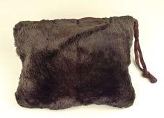 Brown Fur Muff Handbag with Silk Cord Vintage by PINKYSOFSARATOGA b57844e2e47df