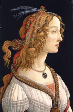 Sandro Botticelli - Half-length portrait of Simonetta Vespucci. Look how beautiful her hair is!