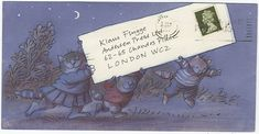 Klaus Flugge, a publisher of children's books has a collection of illustrated envelopes sent by artists, this one is by Posy Simmonds