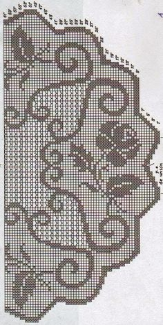 Four roses filet crochet on a tablecloth Crochet Puff Flower, Crochet Lace Edging, Crochet Motifs, Crochet Flower Patterns, Thread Crochet, Crochet Designs, Crochet Doilies, Crochet Stitches, Crochet Roses