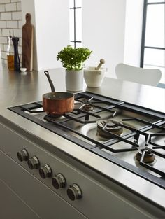 Stylish hob - Gaggenau flush gas hob with inset controls in the kitchen units. Kitchen Design | bulthaup Exeter | Sapphire Spaces - bulthaup b3 kitchen