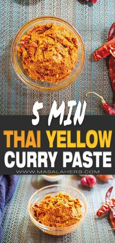 Thai Yellow Curry Paste Recipe - How to make Thai yellow curry paste from scratch easily and quickly. Basic condiment, paste to prepare Thai yellow curry or to enhance soups, pasta dishes, and other meals. Thai Yellow Curry Paste, Yellow Curry Recipe, Oriental Recipes, Indian Food Recipes, Asian Recipes, Thai Food Recipes, Food Dishes, Pasta Dishes, How To Make Curry