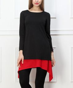 Another great find on #zulily! Black & Red Sidetail Tunic #zulilyfinds