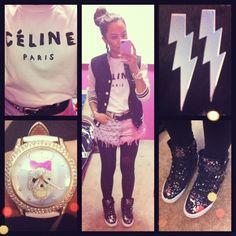 Celine shirt, studded denim shorts, sequin supra skytops