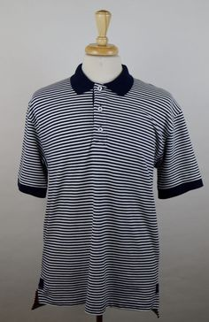 Orvis Men's Size Large Short Sleeve Black White Striped Cotton Rugby Polo Shirt #Orvis #PoloRugby