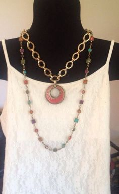 Premier Designs Golden Rule Necklace styled with the Double Take Enhancer & framed with the Chiclet Necklace