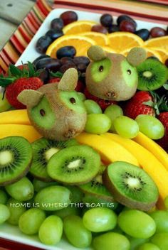 and Boat Time Kiwi Mouse Decorated Fruit Tray by Home Is Where the Boat Is. These would be very fun on a bowl of school fruit.Kiwi Mouse Decorated Fruit Tray by Home Is Where the Boat Is. These would be very fun on a bowl of school fruit. Fruit And Veg, Fruits And Veggies, Fresh Fruit, Deco Fruit, Fruit Creations, Childrens Meals, Fruits For Kids, Food Carving, Food Garnishes
