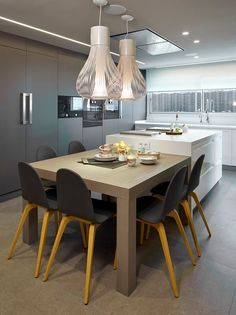 With REHAU Cabinet Doors, all of our 90+ surface solutions are available in custom, fully-finished doors. Even shaker style!!! Check them out today: Kitchen Room Design, Diy Kitchen, Kitchen Interior, Kitchen Decor, Kitchen Modern, Kitchen Ideas, Kitchen Island Dining Table, Kitchen Benches, Kitchen Islands