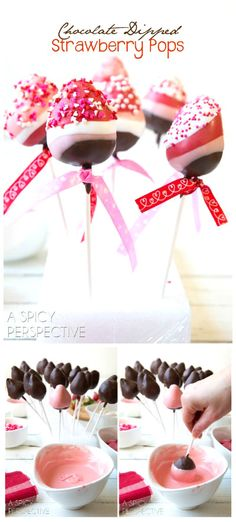 Fun and Easy Chocolate Dipped Strawberry Pops for Valentines Day! Fun and Easy Chocolate Dipped Strawberry Pops for Valentines Day! Valentine Desserts, Valentines Day Treats, Holiday Treats, Valentines Baking, Valentine Cupcakes, Heart Cupcakes, Kids Valentines, Birthday Treats, Cake Birthday