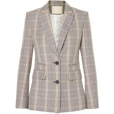 Maje Checked woven blazer ($490) ❤ liked on Polyvore featuring outerwear, jackets, blazers, grey, shoulder pad jacket, gray blazer, woven jacket, blazer jacket and grey blazers
