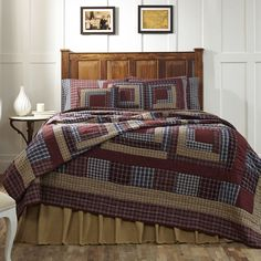 Burgundy, Navy, Green, Creme Includes: 1 Finley King (95x105) 2 Hand-quilted Shams (21x27) 2 Pillow Cases (21x30) 1 Burlap Natural Bed Skirt (78x80x16) 1 Burlap Natural Pillow Cover (16x16) 1 Burlap N