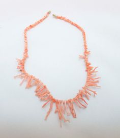 Angel Skin Pink Coral Necklace  16 by neelyauction on Etsy, $60.00